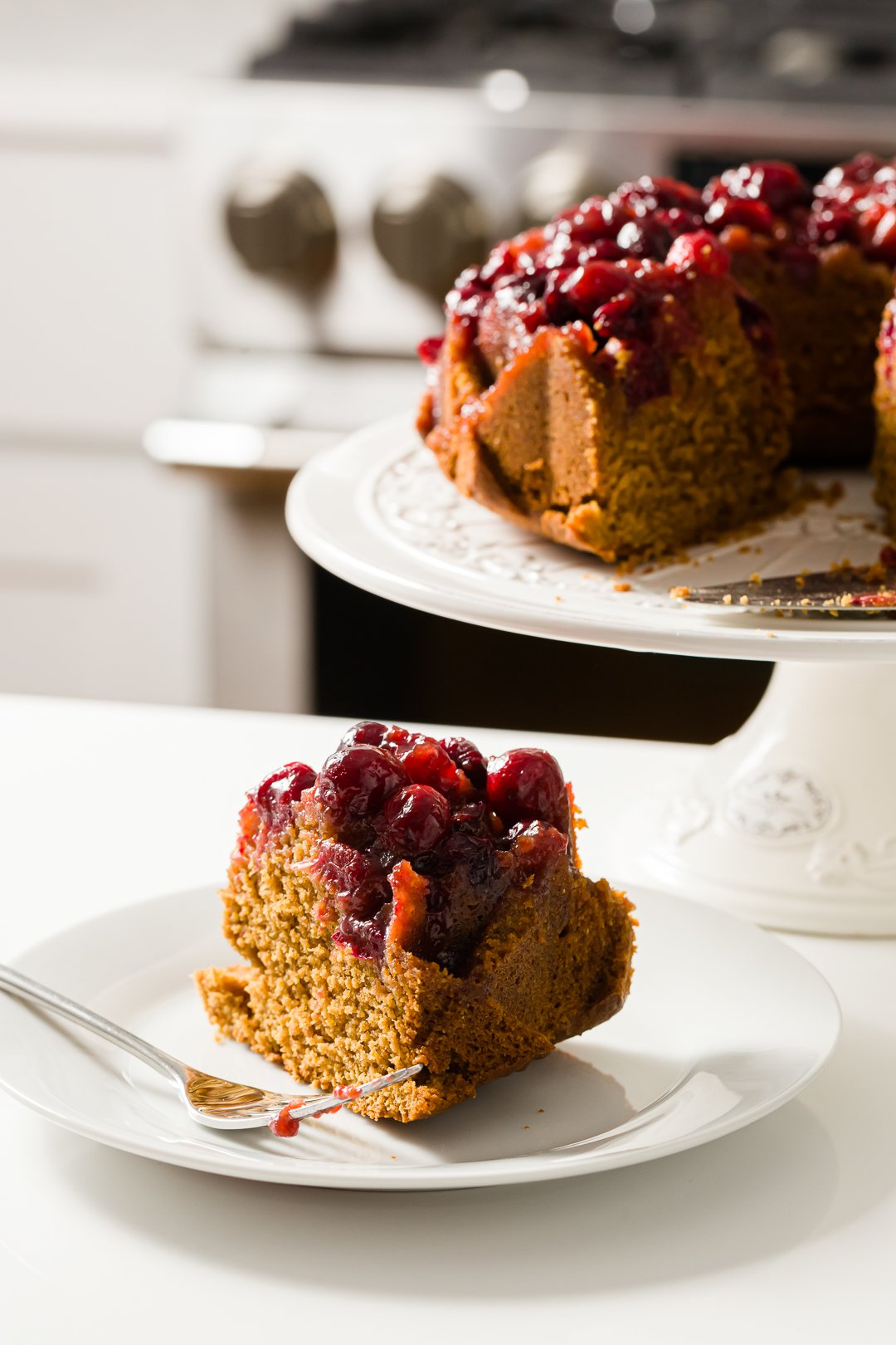 a slice of cranberry cake