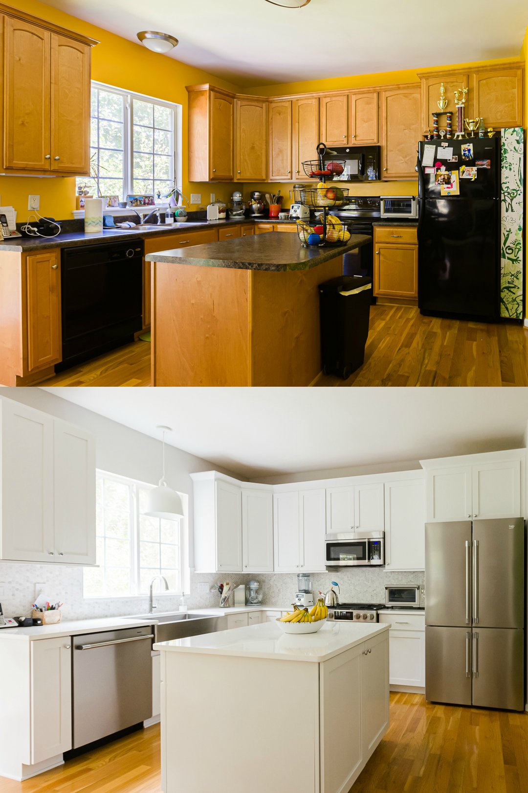 Before and after photos of our kitchen