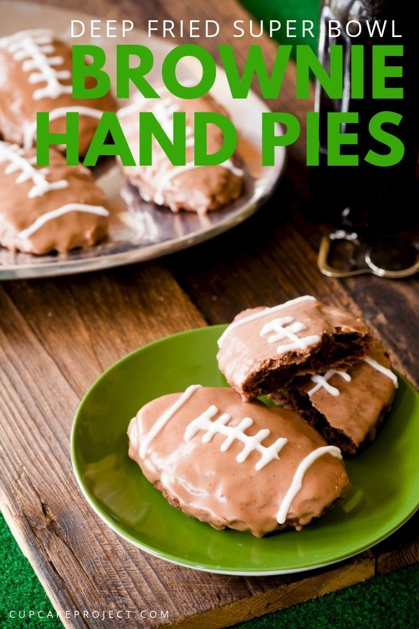 Get ready for Superbowl with this rich, fudgy brownie surrounded by flaky chocolate pie dough. It\'s Deep Fried Super Bowl Brownie Hand Pies! It has a donut-like flavor, and then glazed in a sweet and salty chocolate glaze. Save it for your Superbowl party!