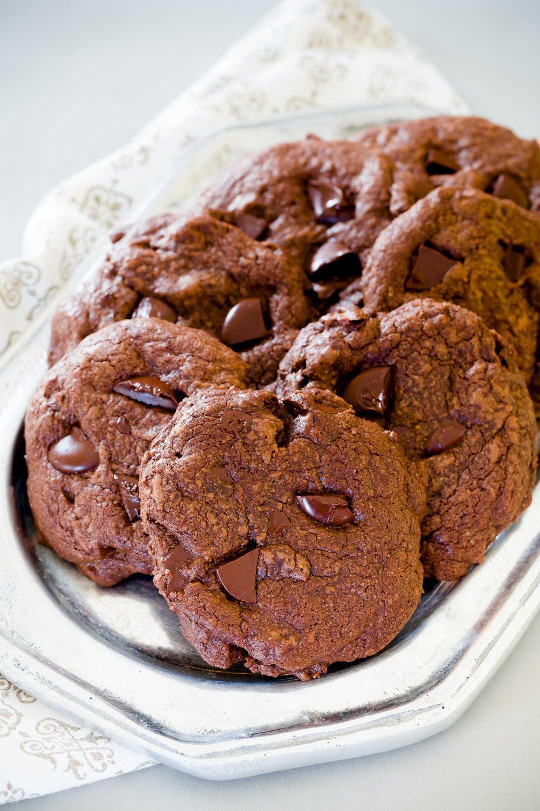 Pile of Stack of Double Chocolate Chip Cookies