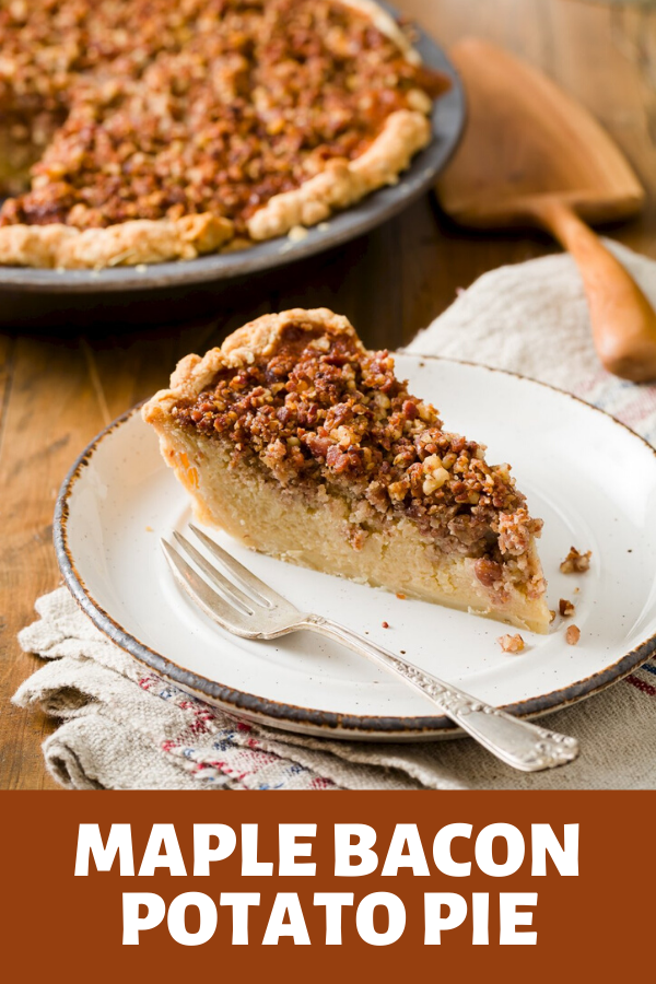 The maple bacon potato pie starts with a flaky rosemary crust.  It's filled with mashed Idaho Potatoes sweetened with maple syrup and a touch of brown sugar, and has the texture of a thick pumpkin pie.  Finally, the pie is topped with bacon and pecan crumbles that toast during the bake. #potatopie