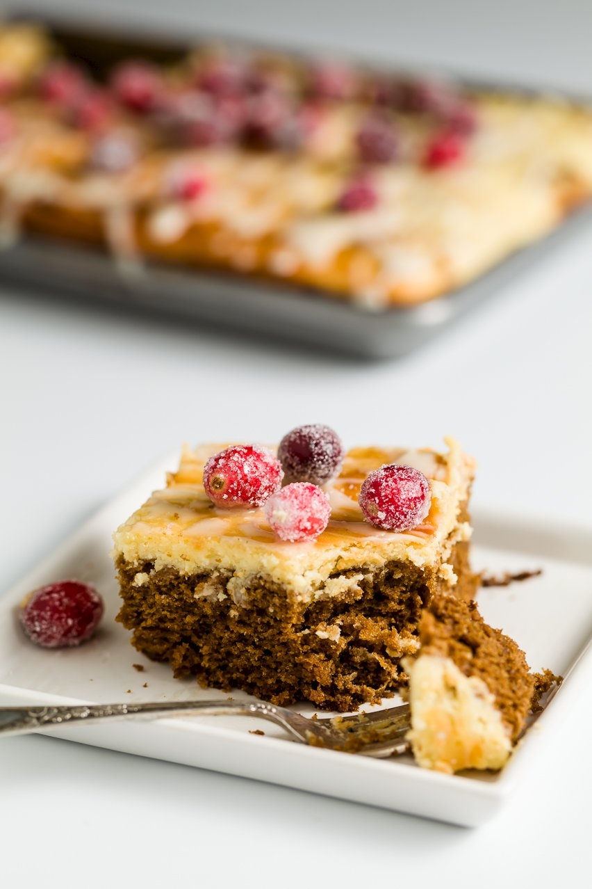 Cheesecake-Topped Gingerbread Cake for Christmas