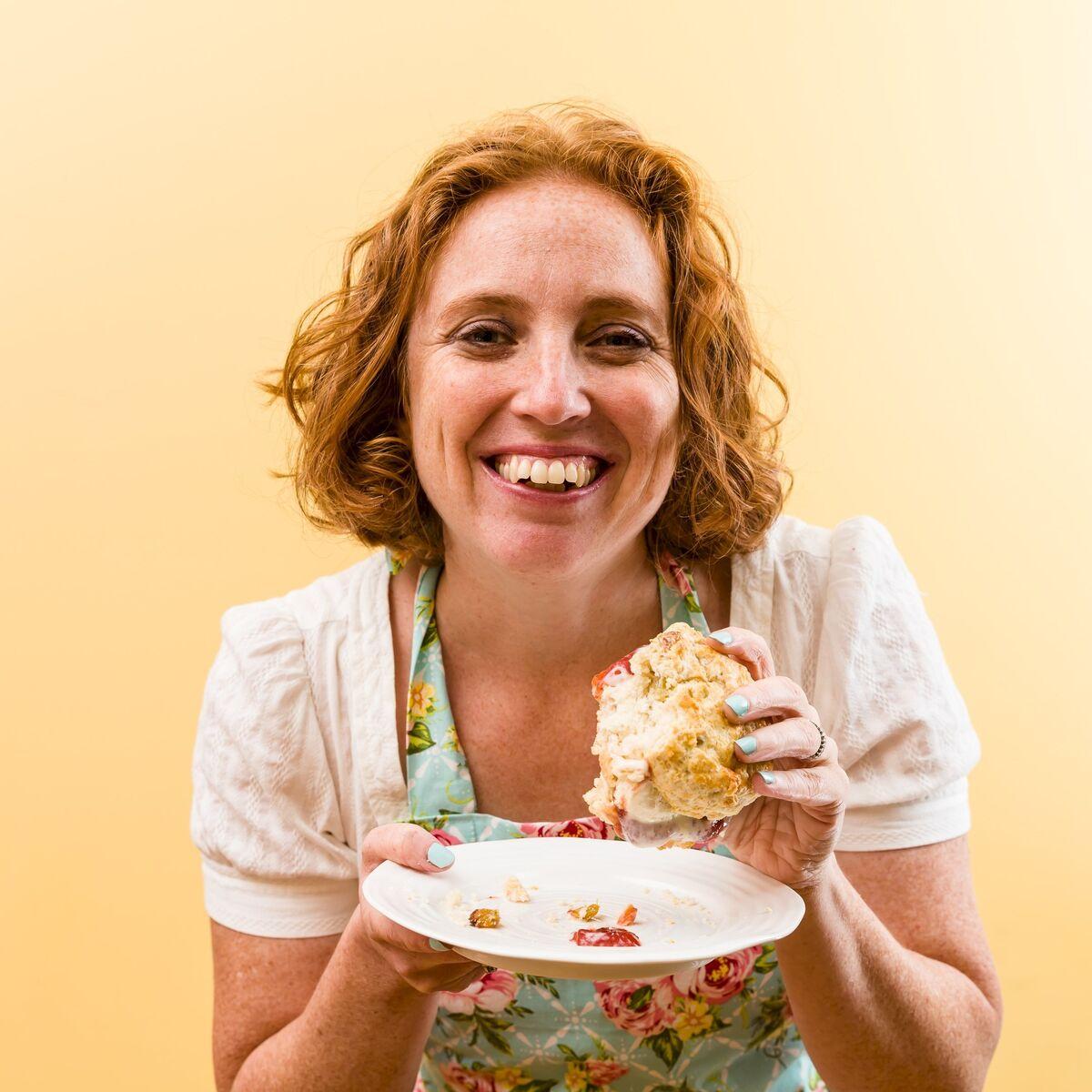 Stefani Pollack holding a clotted cream ice cream sandwich
