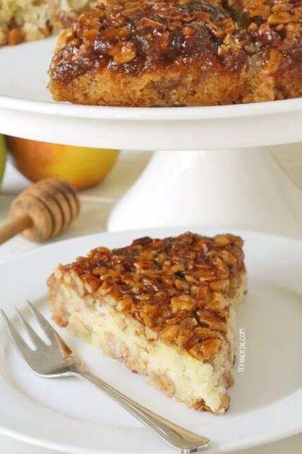 Upside-down apple and honey cake