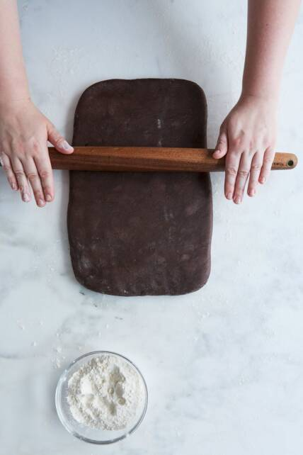 rolling chocolate puff pastry