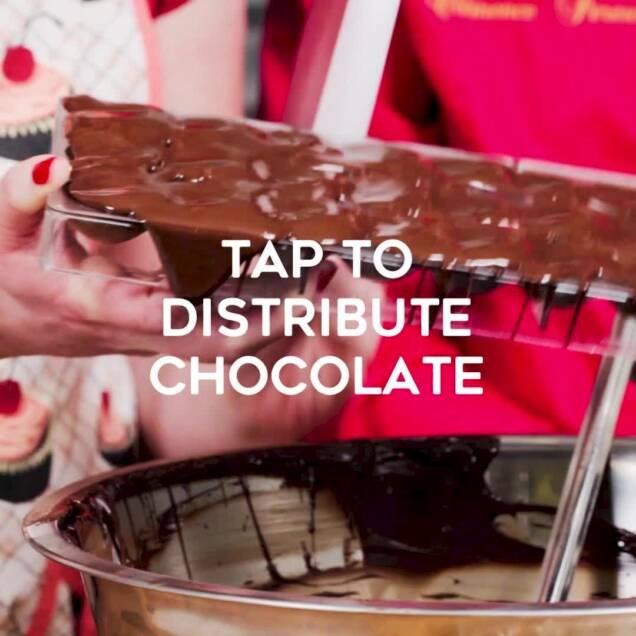 distributing chocolate