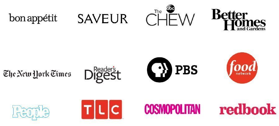 Logos for many news outlets that Cupcake Project has been featured on