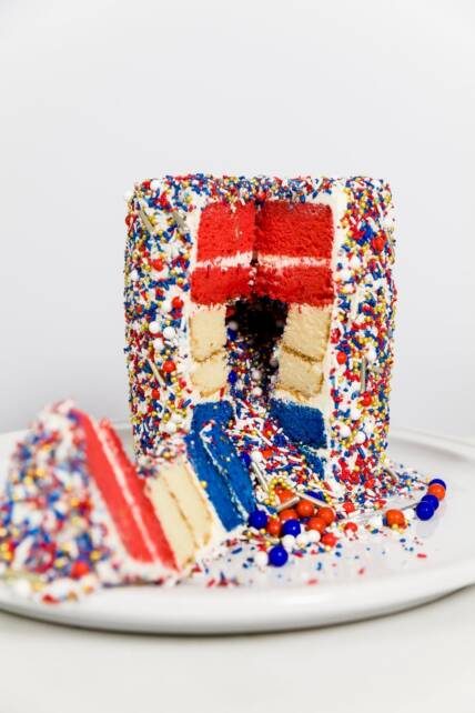 Surprise-inside sprinkle cake