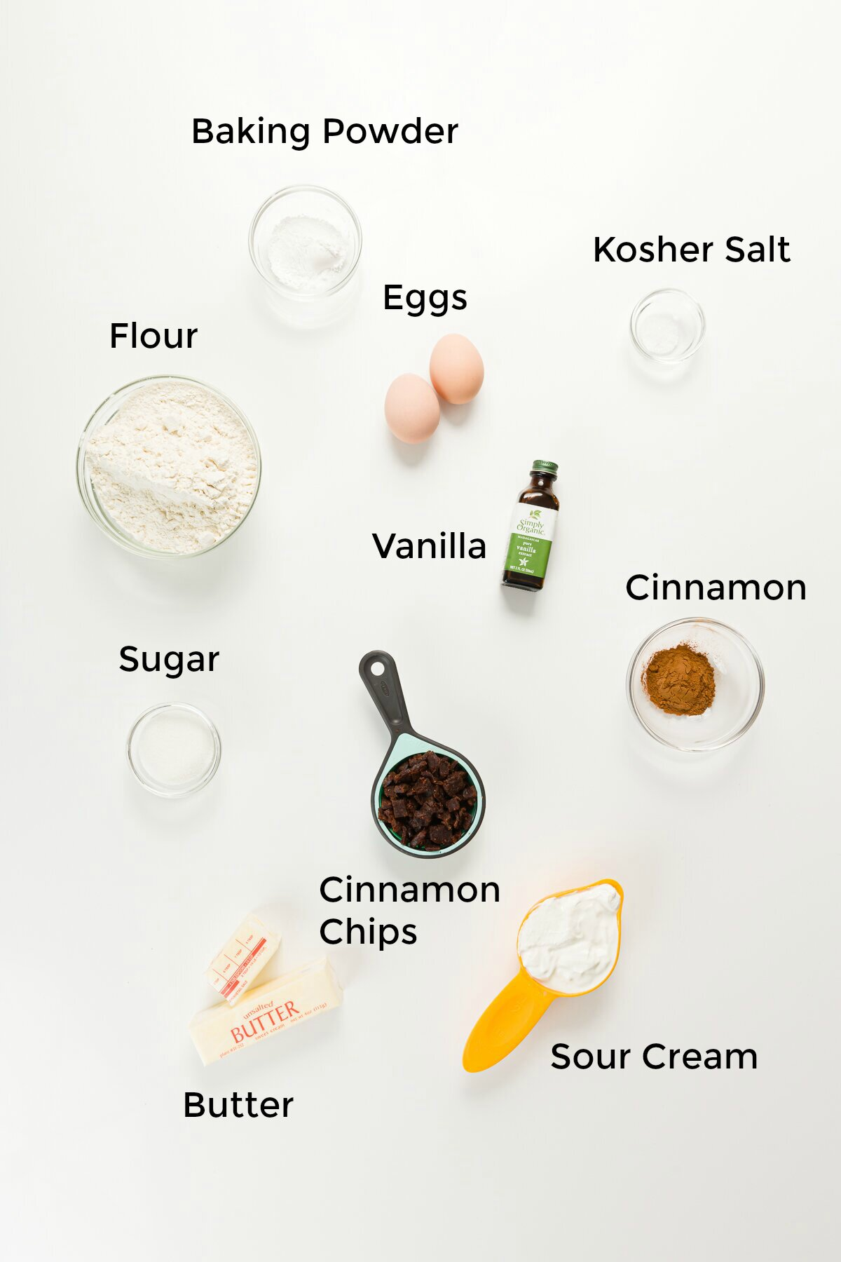 Labeled ingredient shot of everything in cinnamon scones