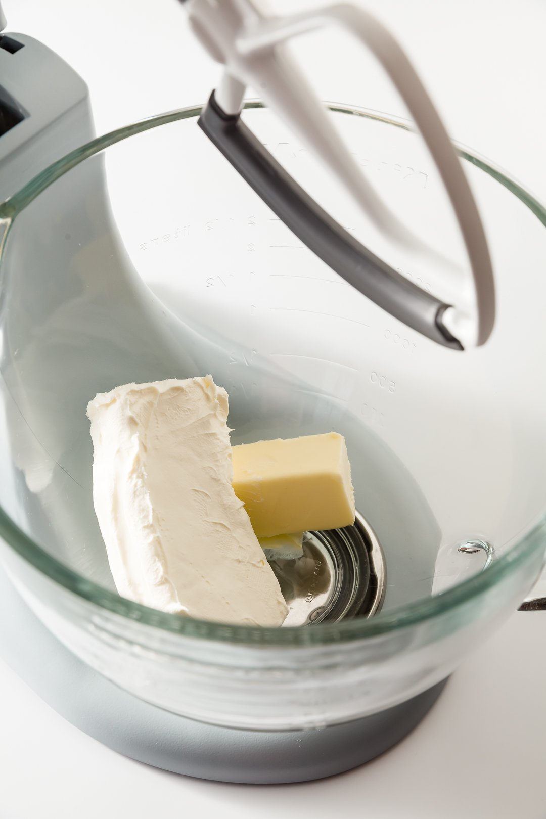 Mixing butter and cream cheese