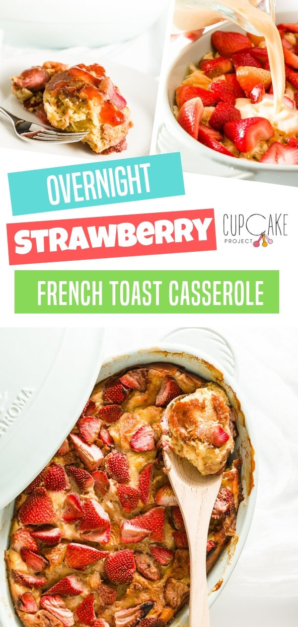 Fresh strawberries for breakfast? Make this Brioche French Toast! It\'s custardy and sweet, moist and has a buttery flavor. Make ahead the night before and bake in the morning, your whole house will smell amazing!