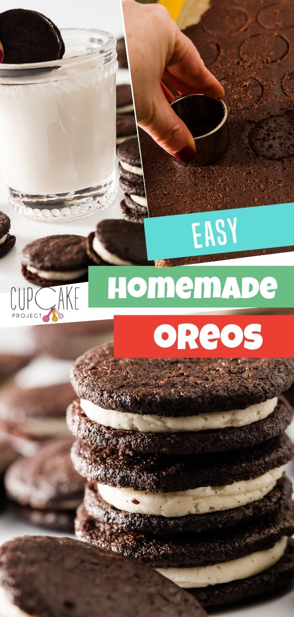 An easy homemade Oreo cookie that tastes like store-bought Oreos! Ready in 20 minutes, these cookies use dark cocoa powder. With Vanilla filling, this recipe is the best Oreo copy cat. Try making this for your kids!