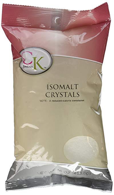 bag of isomalt crystals labeled CK