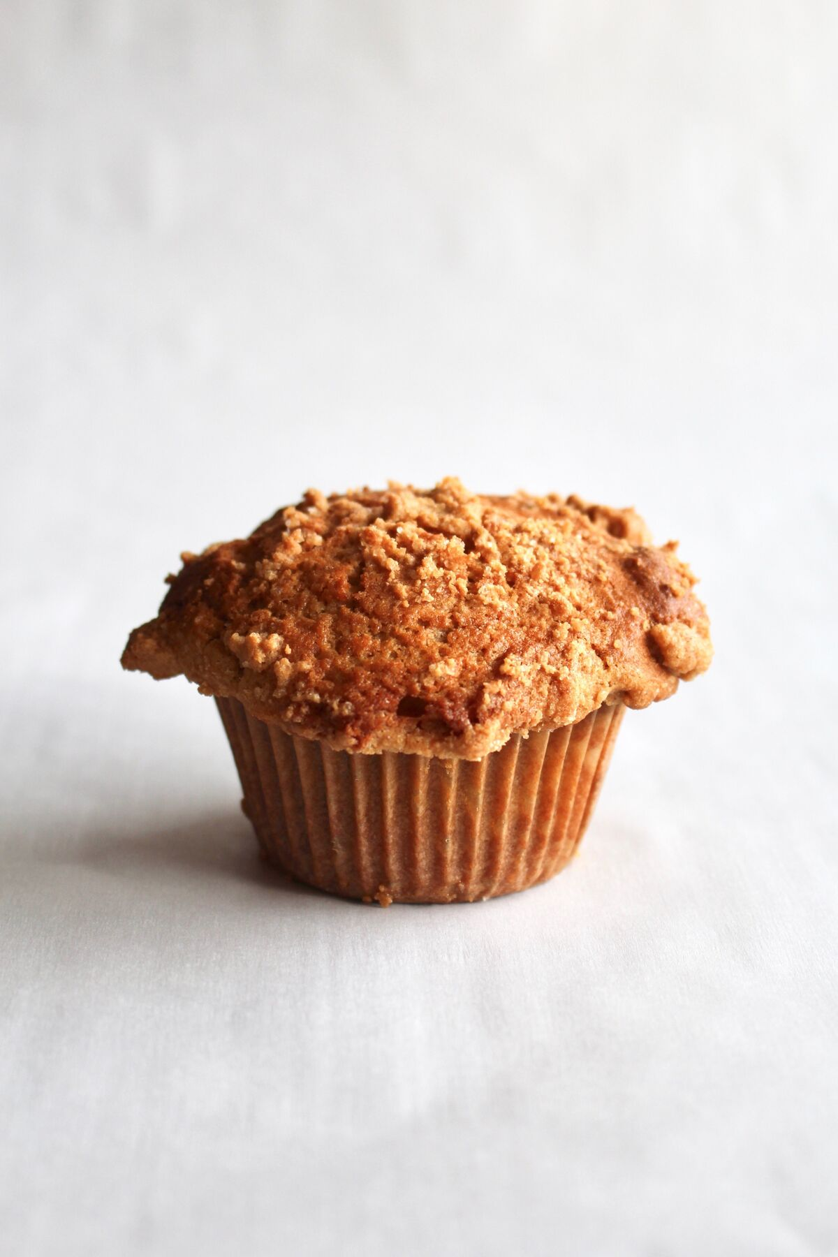 A kinako muffin on a grey background