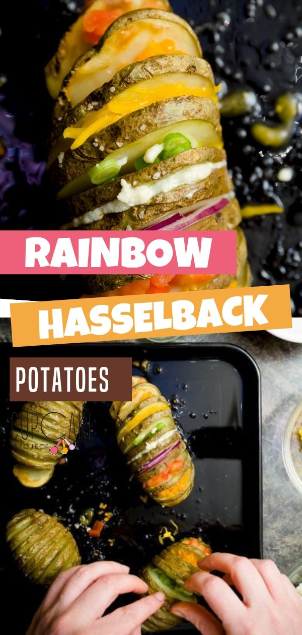 This Rainbow Hasselback Potatoes are a cross between thick cut fries and loaded baked potatoes with colored veggies and cheese as stuffing. This loaded potato is simply the best!