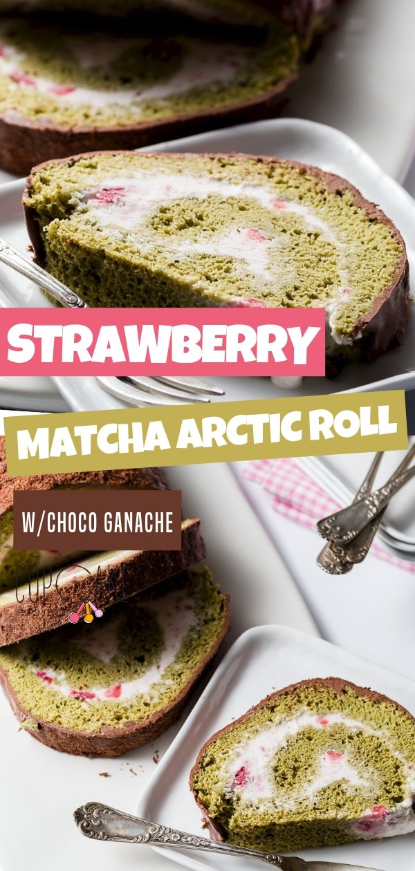 Arctic rolls are summer's answer to jelly rolls.  They are simply sponge cakes rolled around ice cream!  This matcha sponge rolled up around homemade strawberry ice cream is topped with chocolate ganache and chocolate shavings.