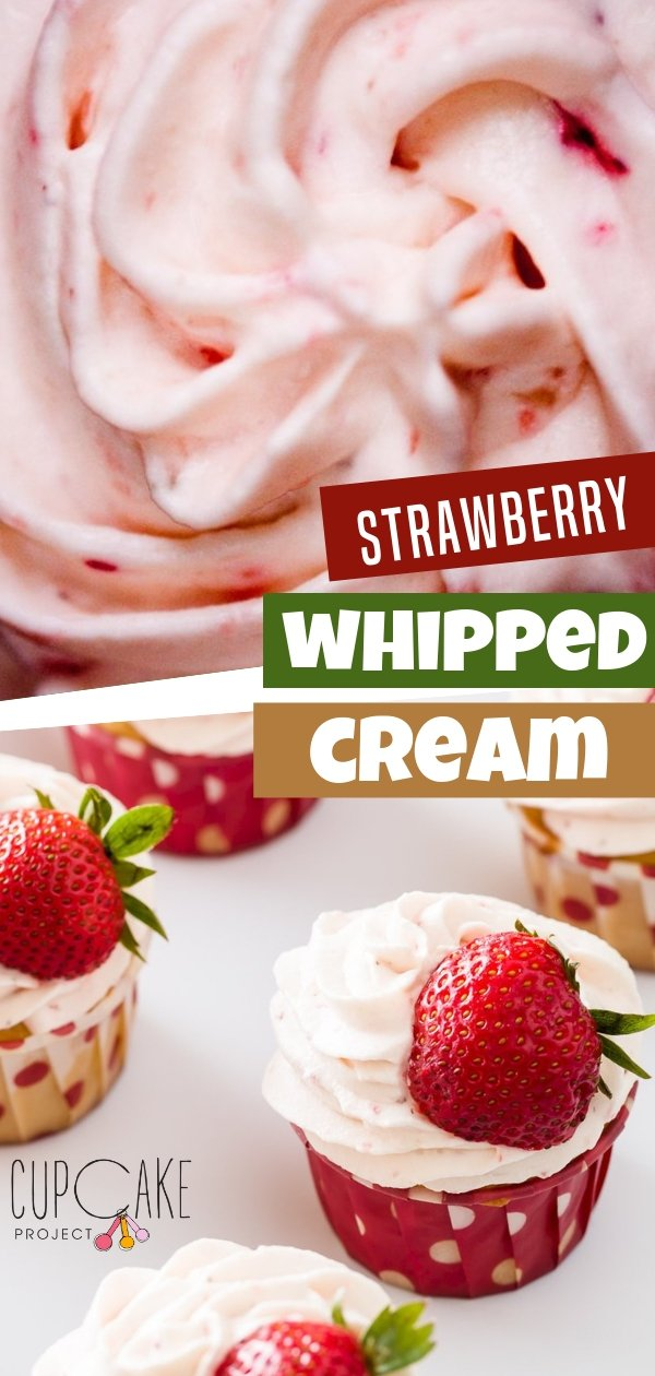 This amazing homemade strawberry whipped cream is made with fresh strawberries and heavy whipped cream! It's a refreshing topping for any dessert recipe. This is a lighter alternative to other strawberry frostings!