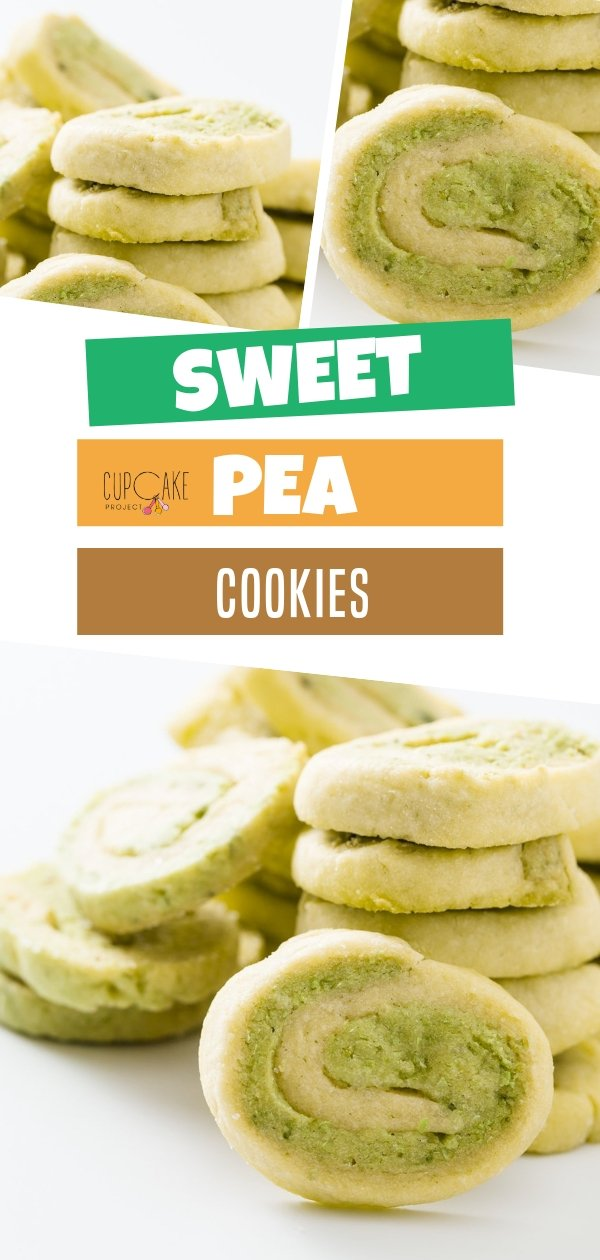 Sweet Pea cookies are tasty shortbread cookies with green swirls! Your picky kids wouldn't be able to taste the peas! This green recipe is a great treat anytime of the day! Save this pin and have fun baking them!