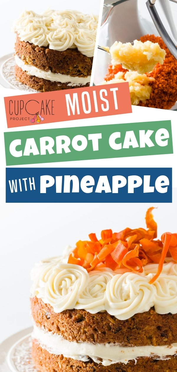 Homemade carrot cake that\'s incredibly moist and topped with pineapple with decadent cream cheese frosting! The best from-scratch cake recipe. This is a must-try carrot cake for carrot dessert lovers!