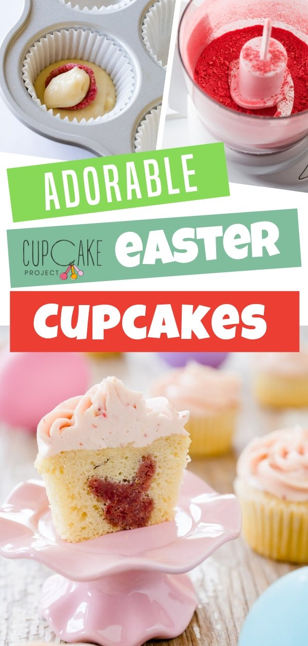Adorable cupcakes perfect to celebrate Easter! Enjoy Easter baking with these easy to make Easter vanilla cupcakes! Looks impressive and fun with a surprise Easter bunny inside!