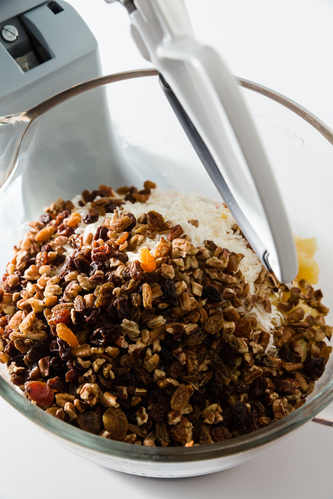 Nuts and raisins in carrot cake batter