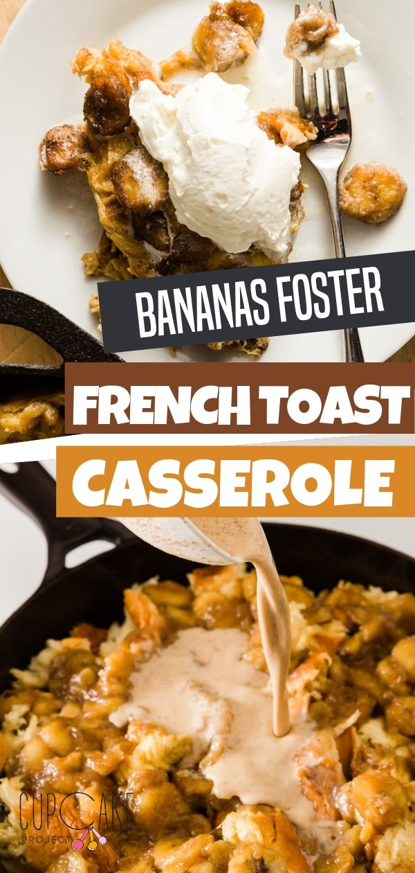An overnight breakfast casserole with a caramelized banana! This decadent French Toast casserole is perfect for breakfast. Bake the recipe and end up with a super moist French toast that is almost like bread pudding! Make this must-try recipe!