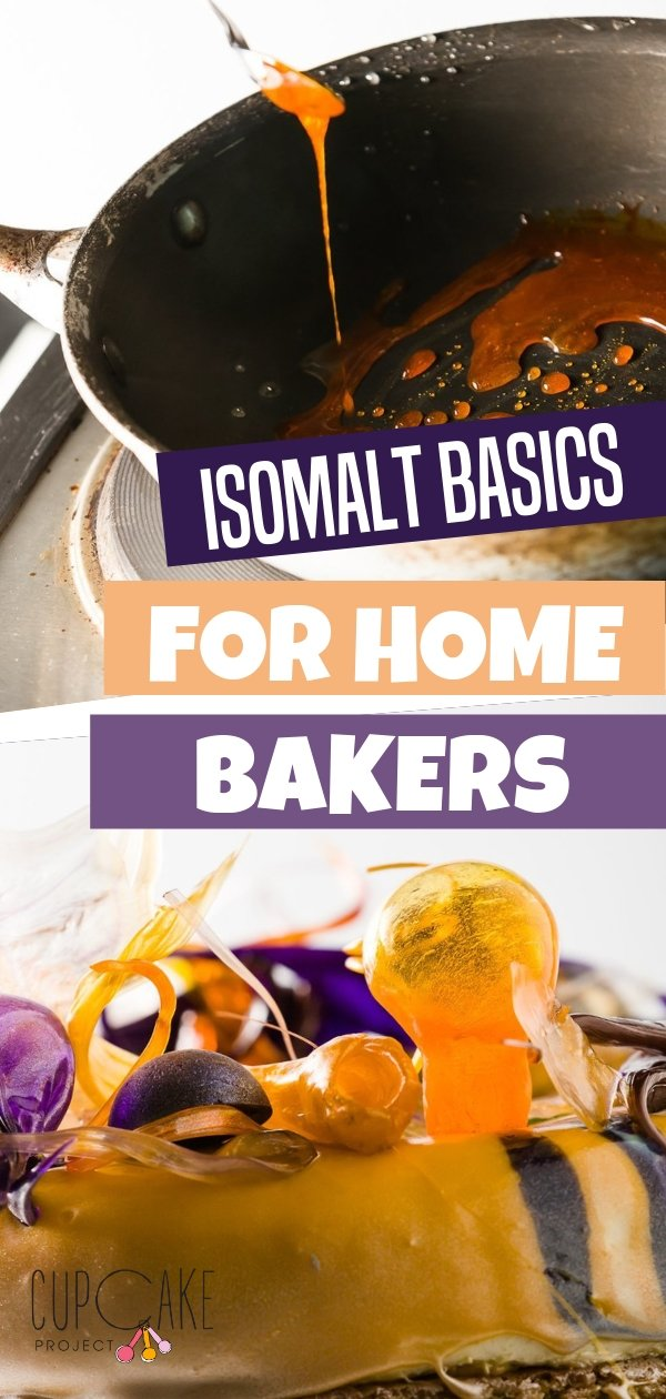 Isomalt is a super fun sugar alcohol that is sweet with a nice crunch used to create stunning cake decorations! As long as you don't burn it, you can melt down isomalt and reuse it again and again. You can use it to decorate cupcakes too!