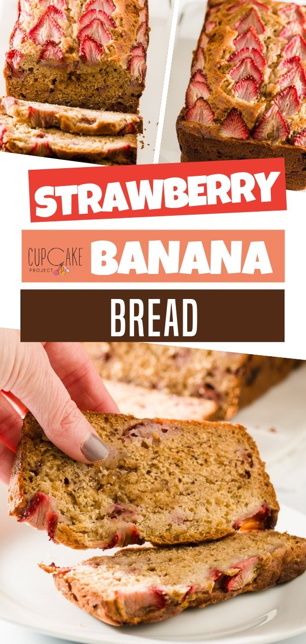 Strawberry banana bread is a fun twist on banana bread! Moist banana bread perfect for morning breakfast with a cup of coffee! Start your morning right with this pretty Strawberry Banana Bread!