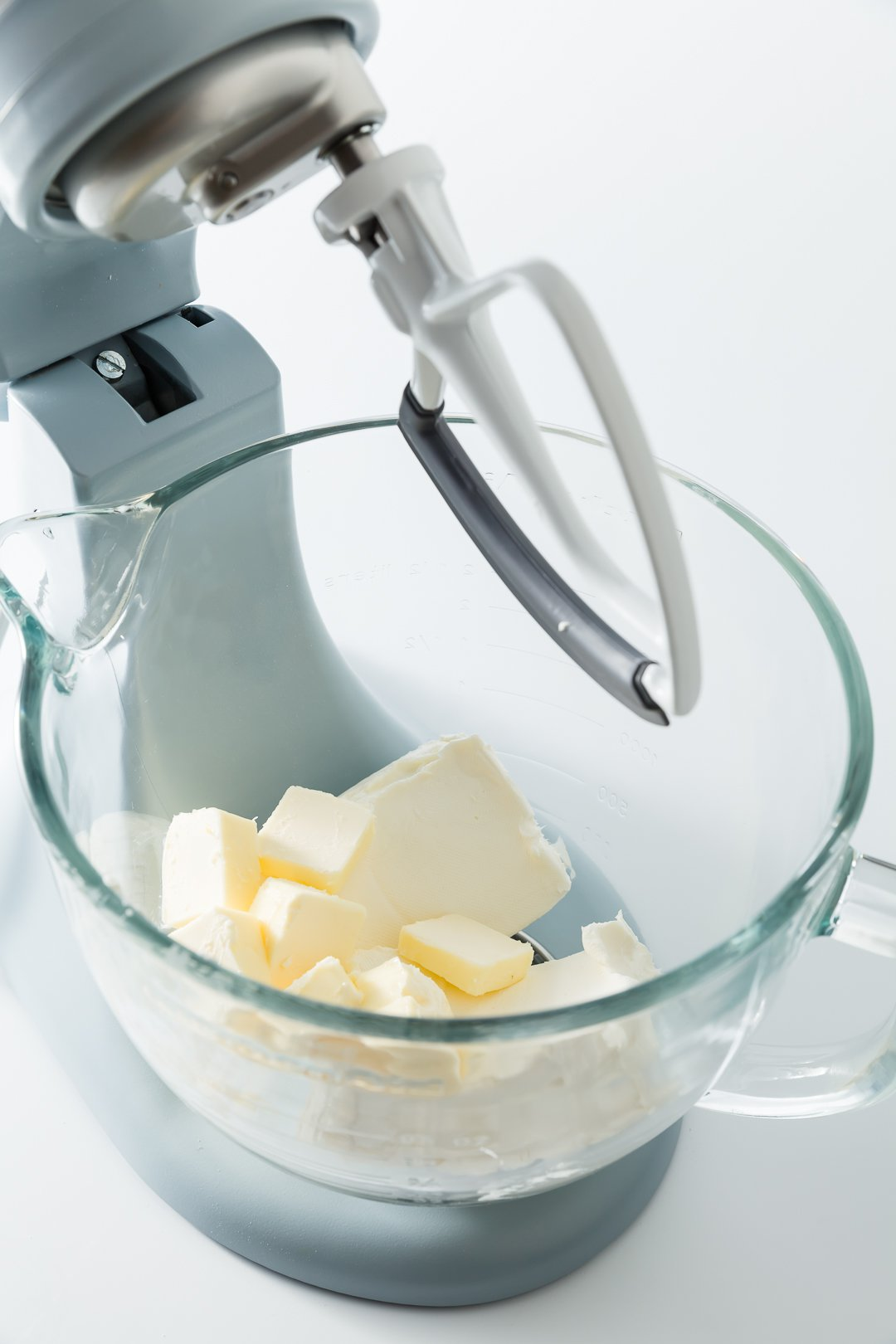 Butter and cream cheese in a kitchenaid mixer