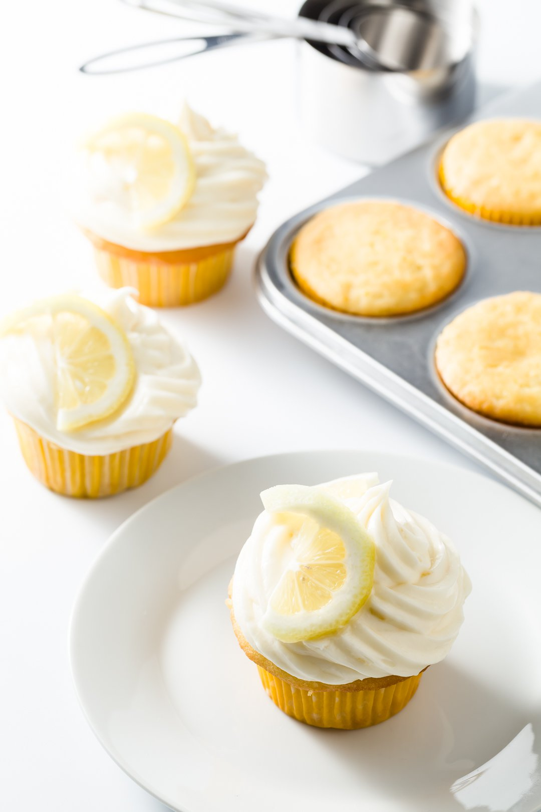 Lemon cream cheese frosting on lemon cupcakes