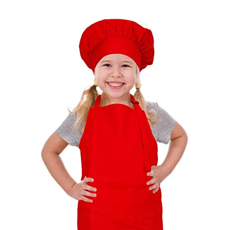 CRJHNS Kids Apron and Chef Hat Set