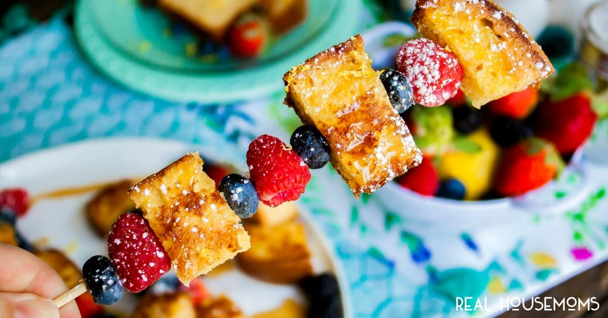 Lemon Pound Cake French Toast Skewers