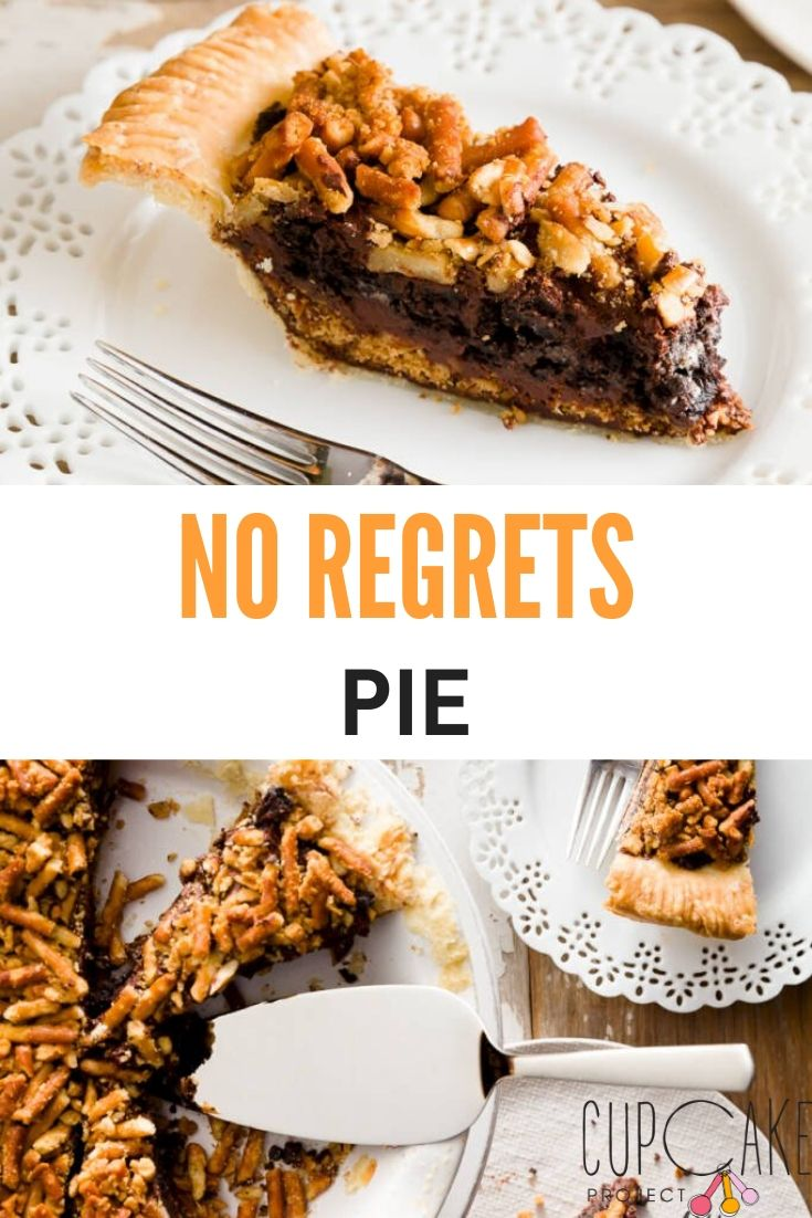 This No Regrets Pie with an Oreo crust and a pretzel topping is an absolute must for any party, event or holiday! #pie #oreo #dessert
