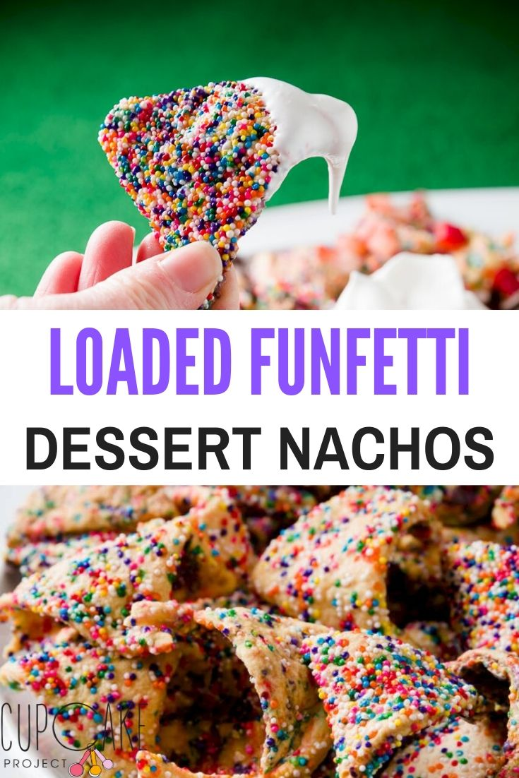 These Loaded Funfetti Dessert Nachos are paired with a meringue dip, diced strawberries, and chocolate chips.  You can get creative with this and add chocolate sauce, Nutella, caramel, or whatever else you can dream up! #dessert #nachos #funfetti