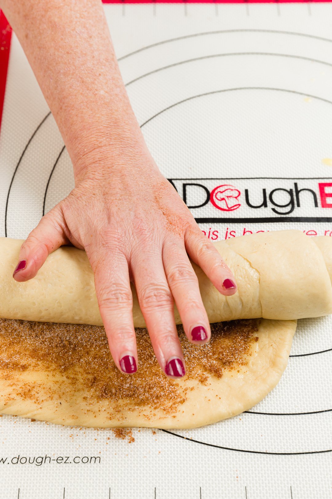 Rolling dough into a log