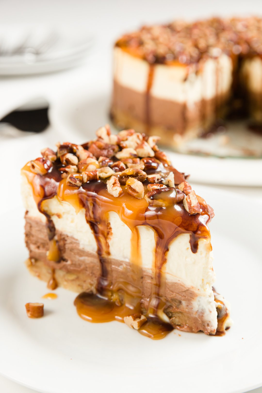 Slice of turtle cheesecake