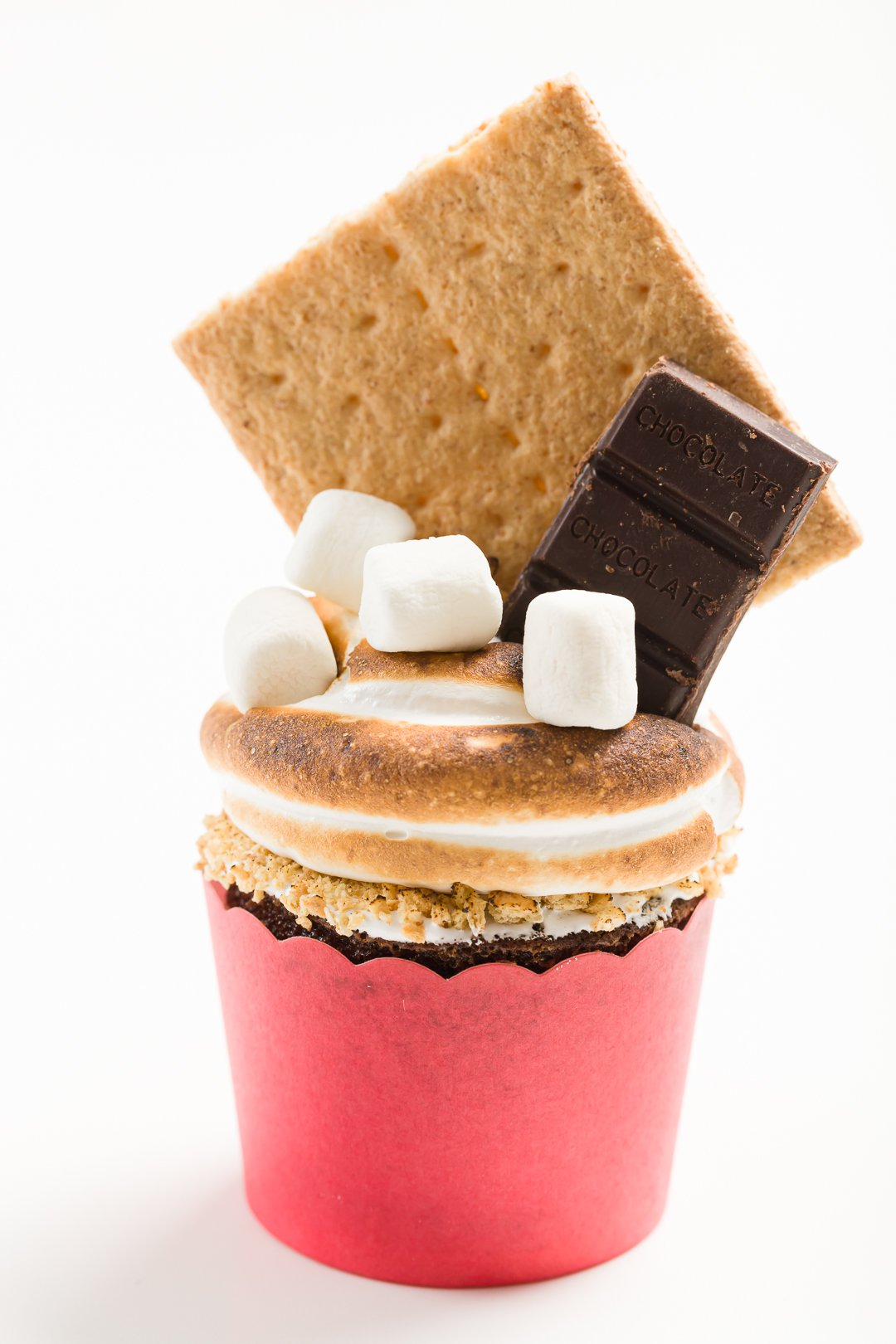 Decorated S'mores Cupcakes on a white background