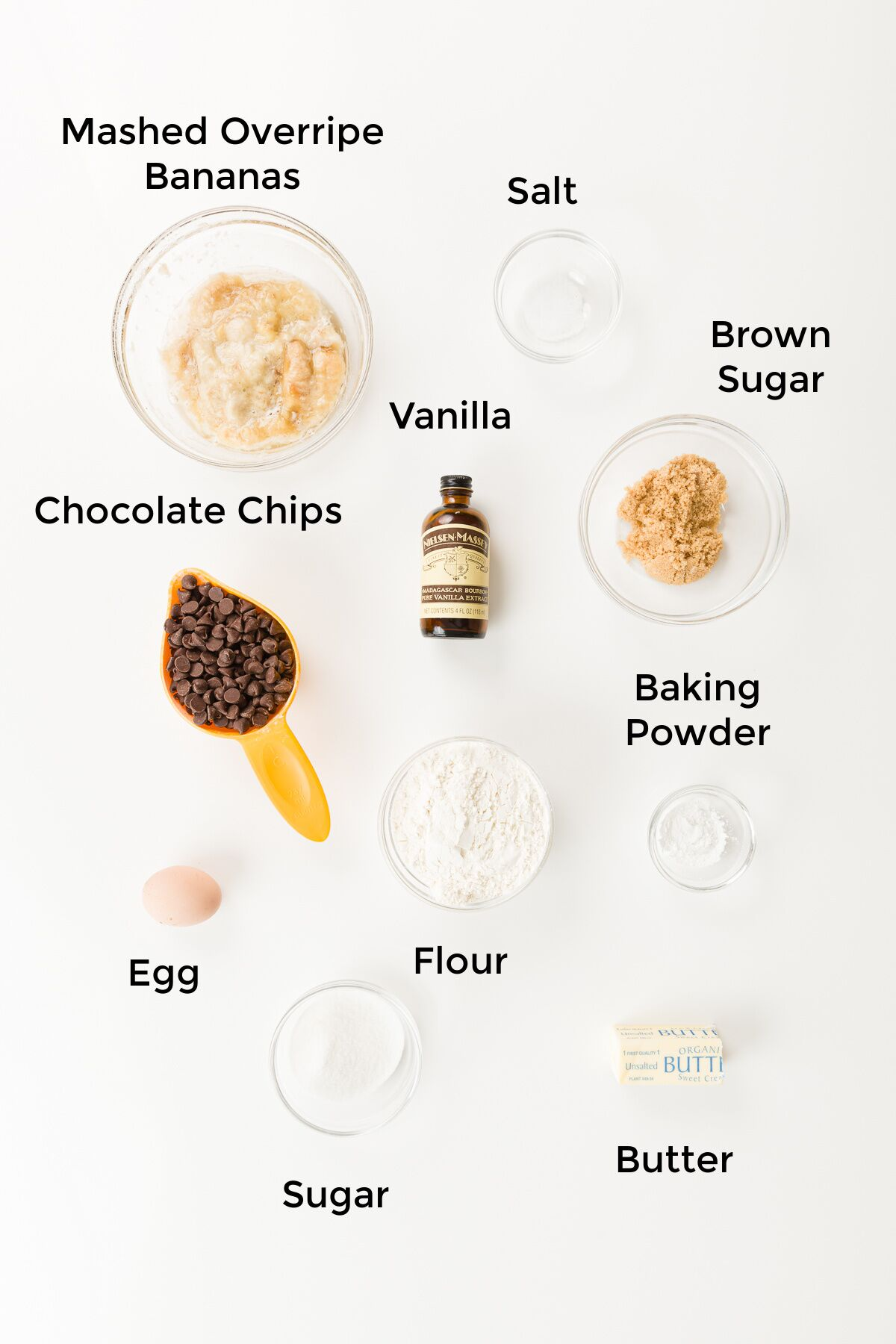 Top down photo of labeled ingredients for chocolate chip banana cookies