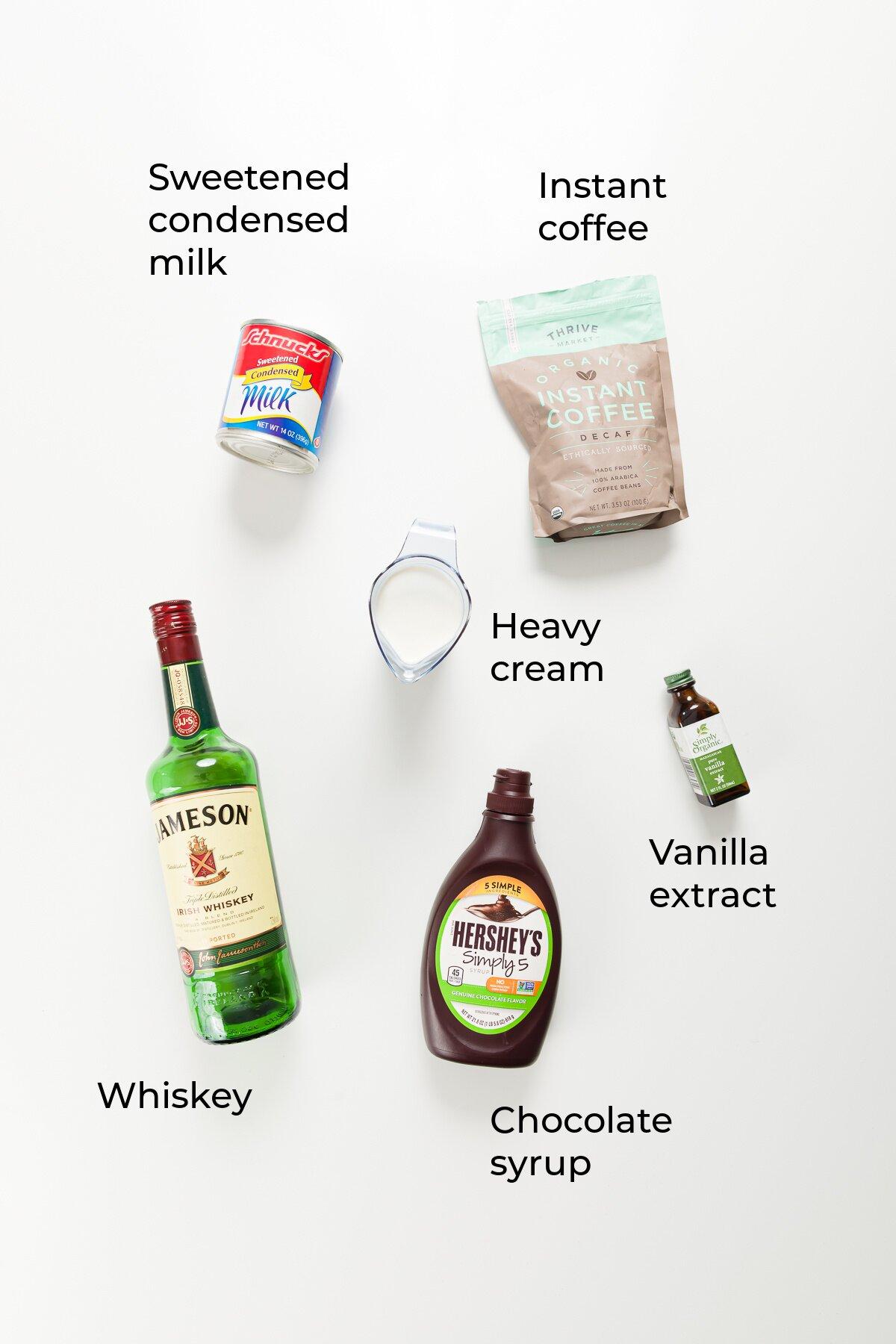 overhead view of ingredients in homemade Baileys