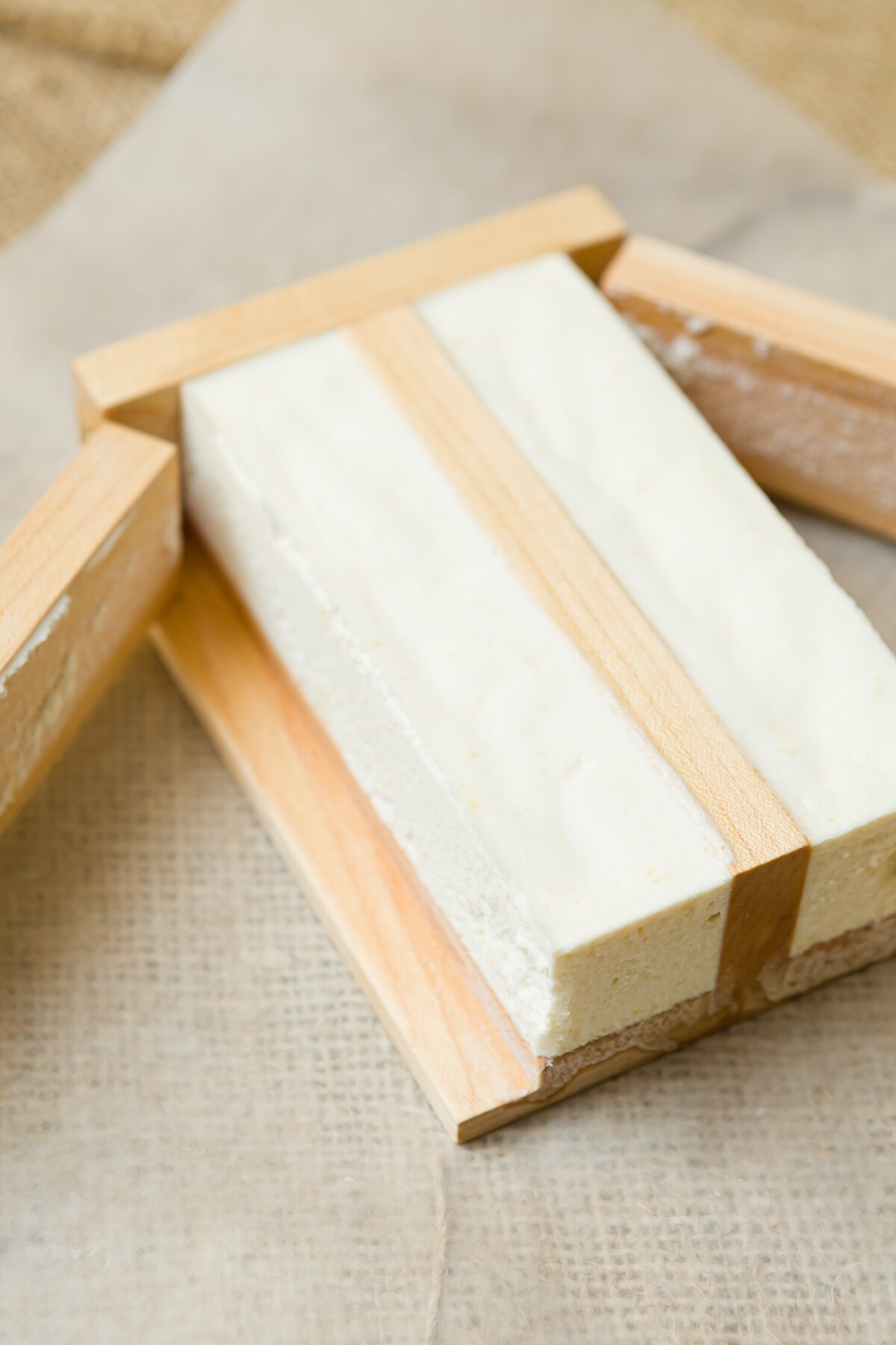 hardened vegan butter in a wooden butter mold