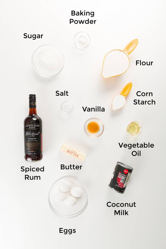 Rum cake ingredients labeled in an overhead shot