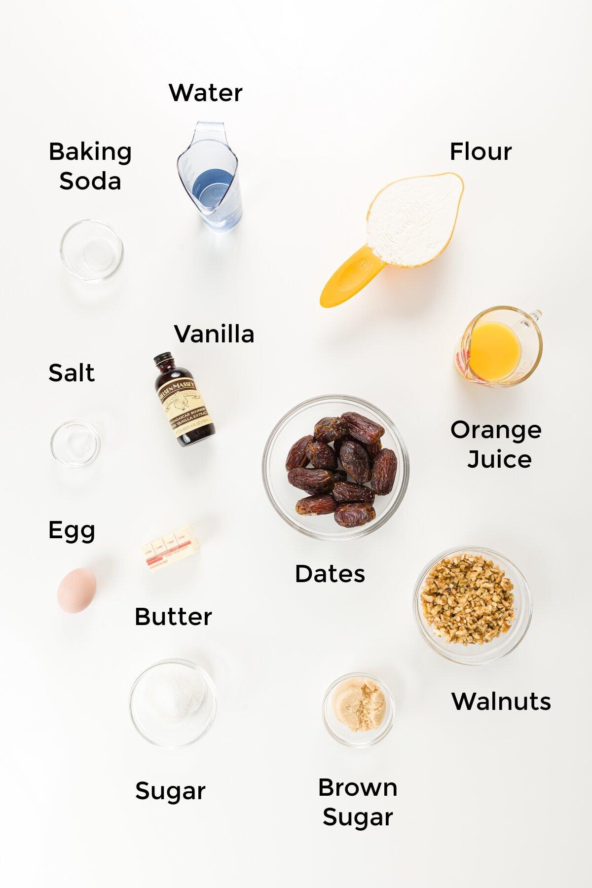 Top down view of date nut bread ingredients