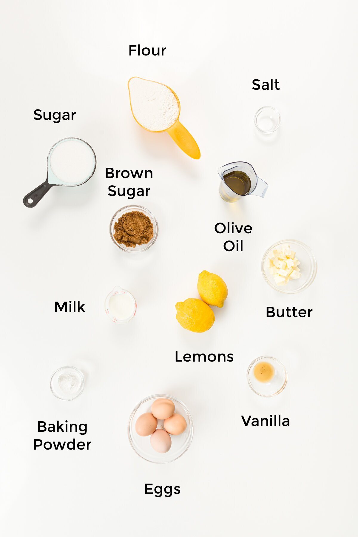 Labeled overhead shot of all recipe ingredients