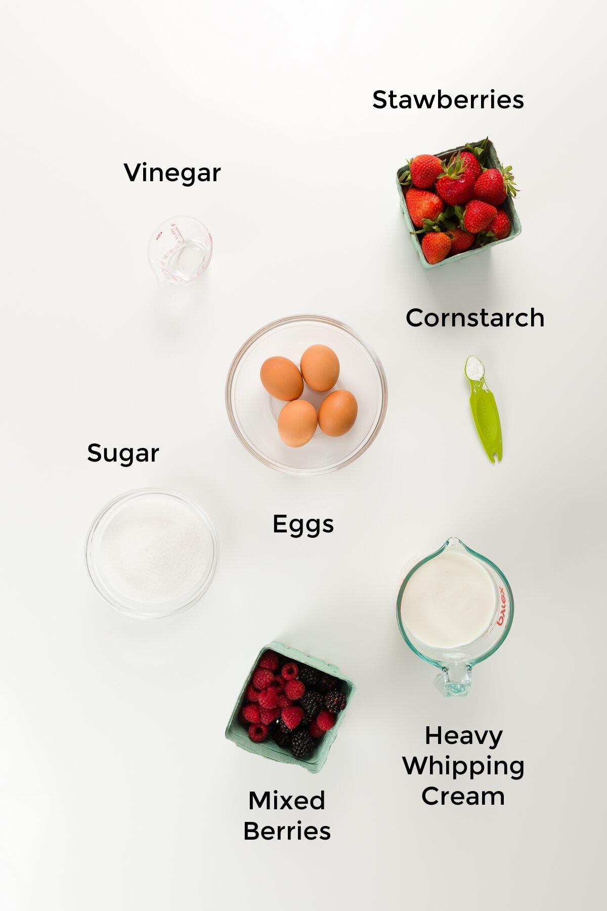 Overhead shot of pavlova ingredients - labelled