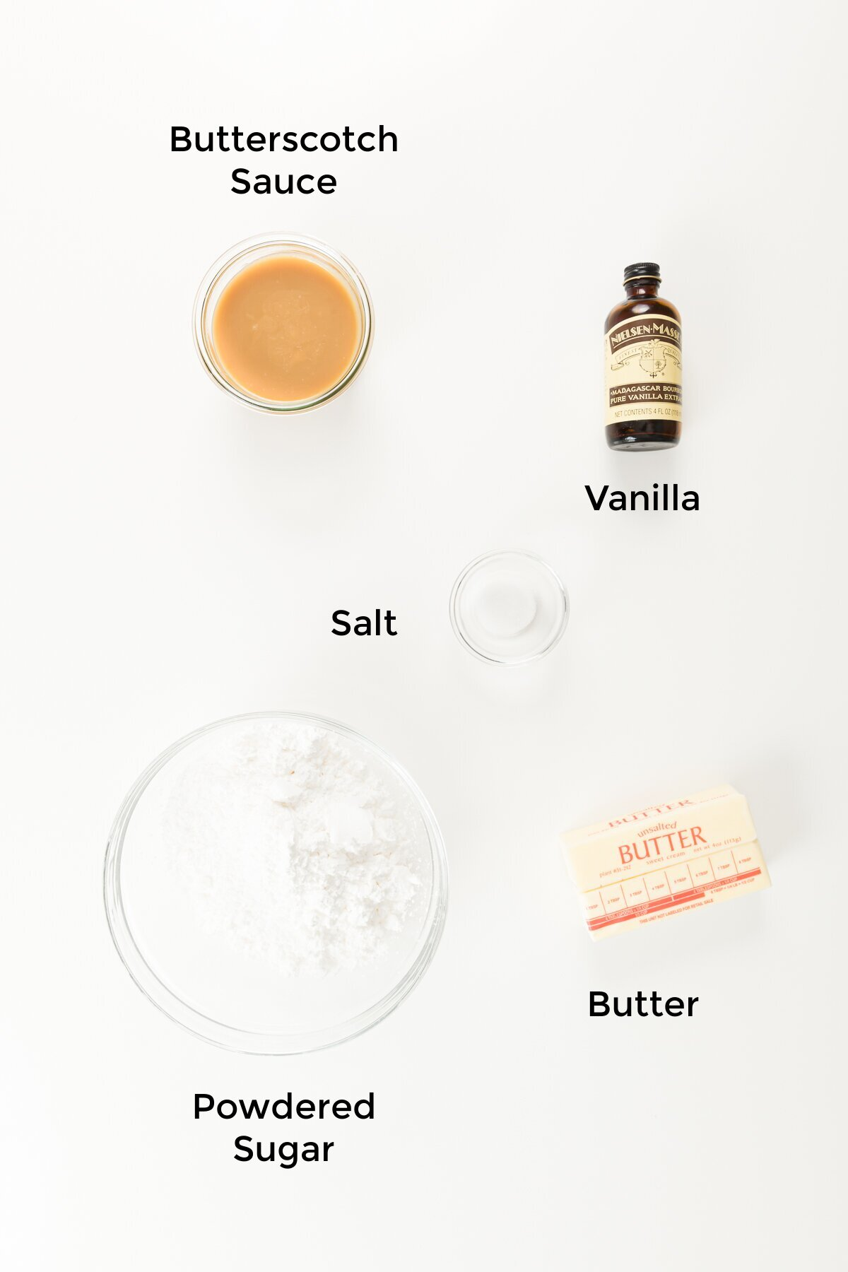 Top down shot of butterscotch frosting ingredients