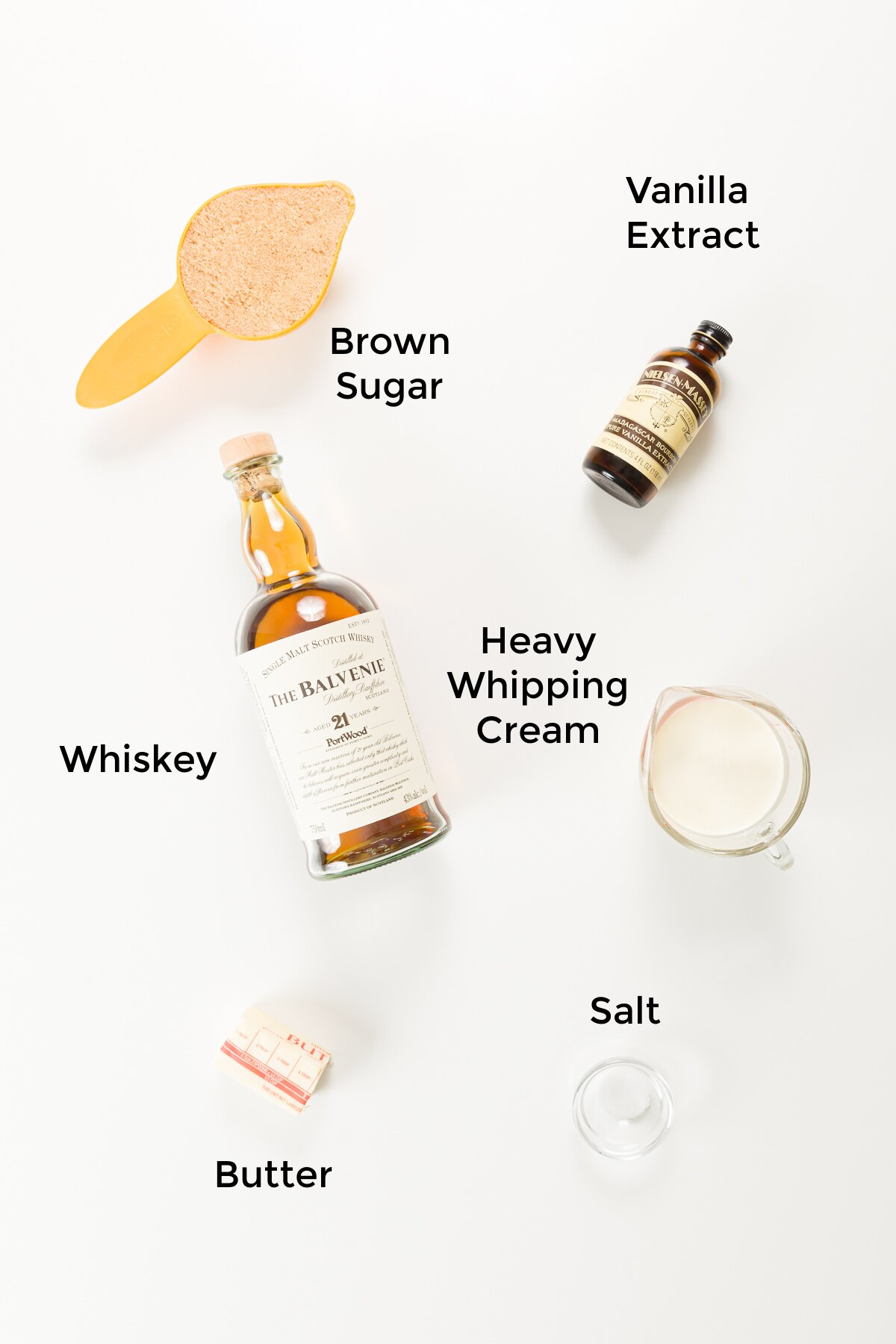 Whiskey sauce ingredients shown top down