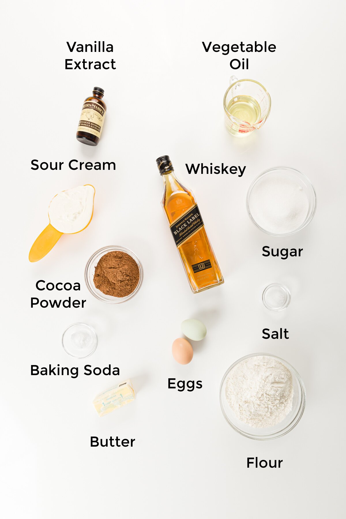 Over head photo of labelled cake ingredients