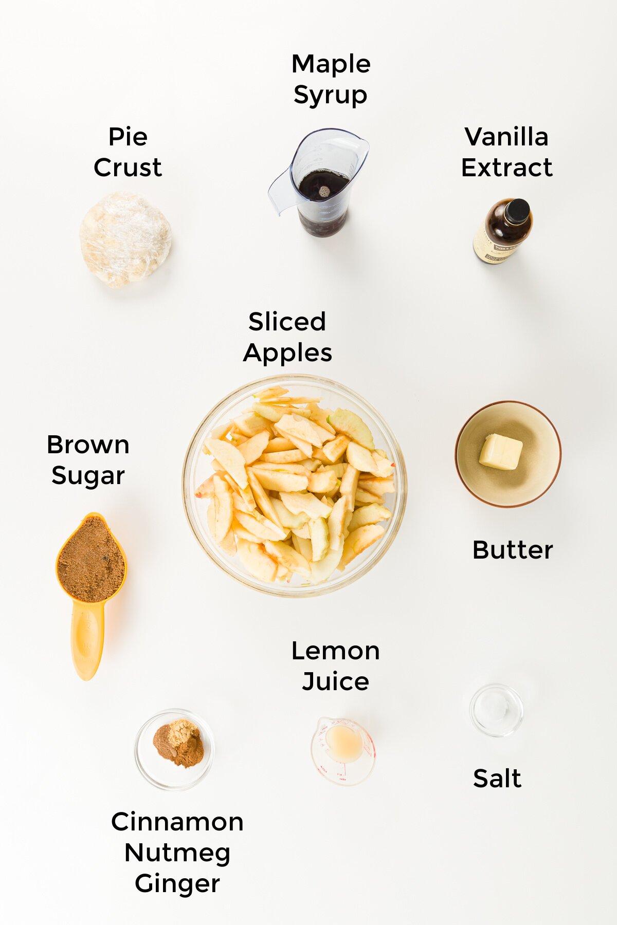 overhead view of apple pandowdy ingredients