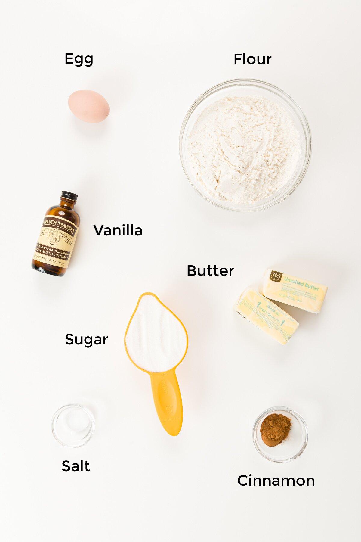 Overhead shot of the cinnamon sugar cookie ingredients